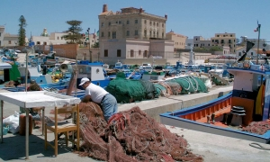 Harbour and old town in Favignana, Sicily